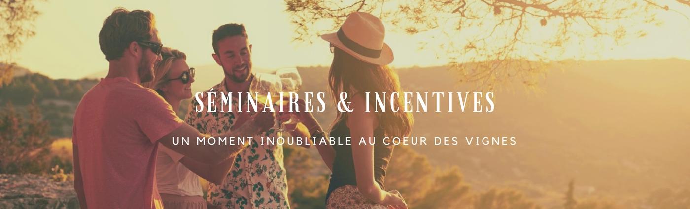 séminaire et incentives ; vigne ; verre de vin ; équipe ; rosé