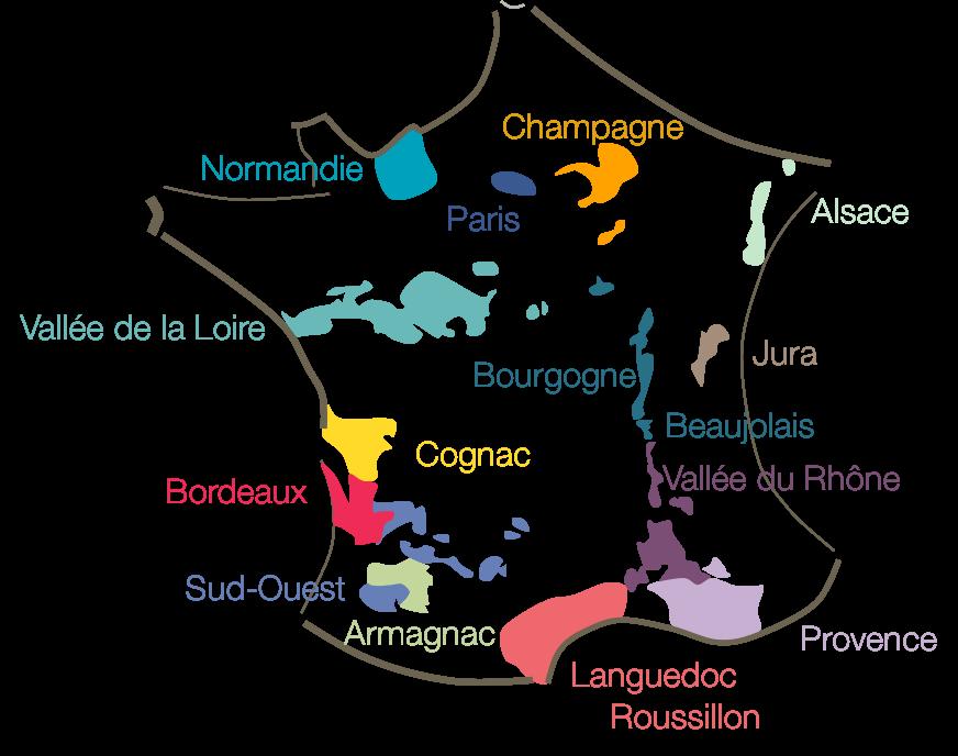 carte de France, carte des vignobles, régions viticole France, dégustation, voyage, tourisme, oenotourisme